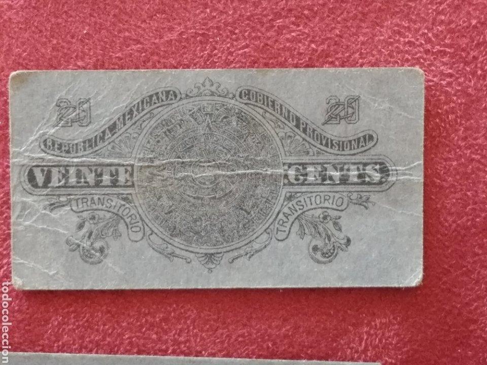 Monedas antiguas de América: GOBIERNO PROVISIONAL MEXICO 5 BILLETES VEINTE CENTAVOS - Foto 10 - 218272098