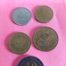 Monedas antiguas de América: MONEDAS URUGUAY 0.50, 1, 2, 5 Y 10 PESOS URUGUAYOS.. Lote 218812172