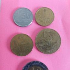 Monedas antiguas de América: MONEDAS URUGUAY 0.50, 1, 2, 5 Y 10 PESOS URUGUAYOS. Lote 218813240