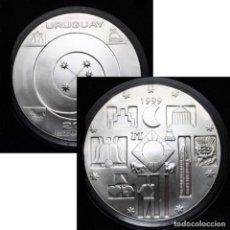 Monedas antiguas de América: 1999 - MONEDA PURA PLATA 900 MACIZA URUGUAY NUEVO MILENIO - 200 PESOS URUGUAYOS - SIN CIRCULAR 25 GR. Lote 219058587
