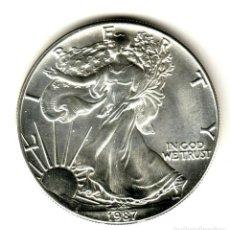 Monedas antiguas de América: USA: 1 DOLAR PLATA 1987 - 1 OZ AMERICAN SILVER EAGLE COIN (BU) DOLLAR SILVER. Lote 295899398