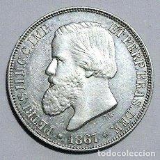 Monedas antiguas de América: BRASIL - 200 REIS - 1867 - PLATA 0.835 - NO CIRCULADA. Lote 220172705