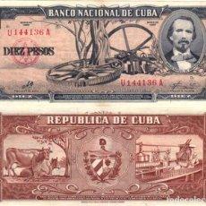 Monedas antiguas de América: BILLETE CUBA - 10 PESOS - 1960 - FIRMA DEL CHE - P88C - ESCASO. Lote 220230766
