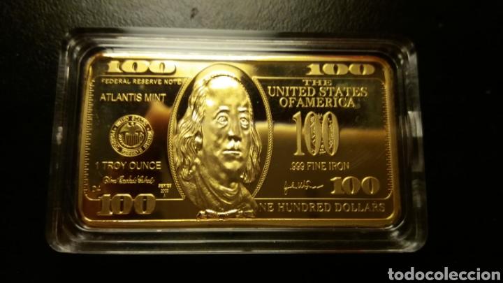 100 DOLÁRES LINGOTE DE ORO LAMINADO 32 GR. (Numismática - Extranjeras - América)