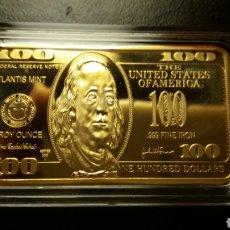 Monedas antiguas de América: 100 DOLÁRES LINGOTE DE ORO LAMINADO 32 GR.. Lote 221158731