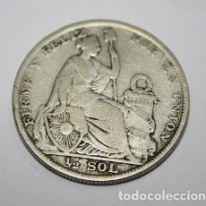 Monedas antiguas de América: 623,, MONEDA DE LA REPULICA DEL PERU 1/2 SOL PLATA AÑO 1923 CONSERVACION MBC. Lote 222015325