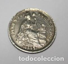 631,, MONEDA DE LA REPULICA DEL PERU 1/2 DINº PLATA AÑO 1906. JF. CONSERVACION EBC+ (Numismática - Extranjeras - América)