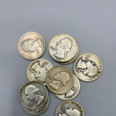 Monedas antiguas de América: LOTE DE 10 MONEDAS.PLATA. EEUU. QUARTER DOLLAR. CUARTO DE DOLAR. 1/4 DOLAR. 1939-1954. VER FOTOS.. Lote 224047163