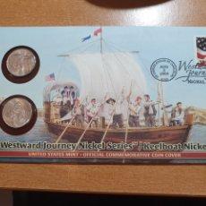Monedas antiguas de América: SOBRE PRIMER DÍA KEELBOAT NICKEL 2 MONEDA CECA DENVER Y FILADELFIA. Lote 224711158