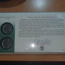 Monedas antiguas de América: SOBRE PRIMER DÍA 2 MONEDAS PENSYLVANIA QUATER CECA DE DENVER Y FILADELFIA 1999. Lote 224730808