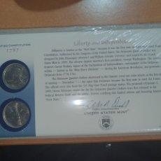 Monedas antiguas de América: SOBRE PRIMER DÍA 2 MONEDA QUARTER THE DELAWERE CECA DENVER Y FILADELFIA 1999. Lote 224731045