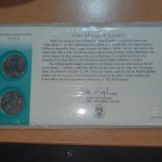 Monedas antiguas de América: SOBRE PRIMER DÍA 2 MONEDA VIRGINIA CECA DENVER Y FILADELFIA 2000. Lote 224731913