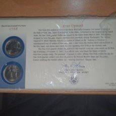 Monedas antiguas de América: SOBRE PRIMER DÍA NEW YORK 2 MONEDA CECA DENVER Y FILADELFIA 2001. Lote 224732213
