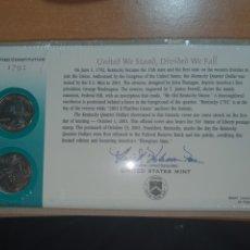 Monedas antiguas de América: SOBRE PRIMER DÍA 2 MONEDA KENTUCKY CECA DENVER Y FILADELFIA 2001. Lote 224732337