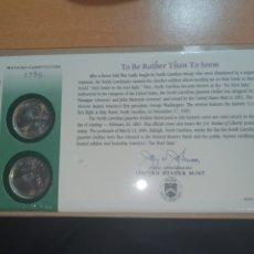 Monedas antiguas de América: SOBRE PRIMER DÍA 2 MONEDA NORTH CAROLINA CECA DENVER Y FILADELFIA 2001. Lote 224732418