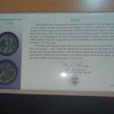 Monedas antiguas de América: SOBRE PRIMER DÍA 2 MONEDA RHODE ISLAND CECA DENVER Y FILADELFIA 2001. Lote 224732476