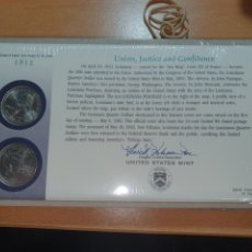 Monedas antiguas de América: SOBRE PRIMER DÍA 2 MONEDA LUSIANA CECA DENVER Y FILADELFIA 2002. Lote 224768087