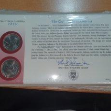 Monedas antiguas de América: SOBRE PRIMER DÍA 2 MONEDA INDIANA CECA DENVER Y FILADELFIA 2002. Lote 224768417