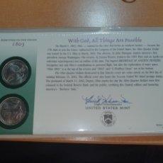 Monedas antiguas de América: SOBRE PRIMER DÍA 2 MONEDA OHIO CECA DENVER Y FILADELFIA 2002. Lote 224768890