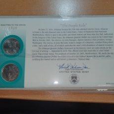 Monedas antiguas de América: SOBRE PRIMER DÍA ARKANZAS 2 MONEDA CECA DENVER Y FILADELFIA 2003. Lote 224769857