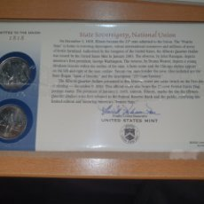 Monedas antiguas de América: SOBRE PRIMER DÍA 2 MONEDA ILLINOIS CECA DENVER Y FILADELFIA 2003. Lote 224770118