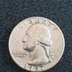 Monedas antiguas de América: QUARTER DOLLAR USA 1957 D PLATA. Lote 225136747
