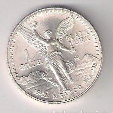 Monedas antiguas de América: MONEDA DE 1 ONZA DE MÉJICO DE 1991. PLATA. SIN CIRCULAR. WORLD COINS-KM#494.2 (ME491). Lote 225152470