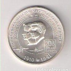 Monedas antiguas de América: MONEDA DE 200 SOLES DE PERÚ DE 1975. PLATA. SC. CHÁVEZ Y GUINONES HÉROES DE LA AVIACIÓN. (ME181). Lote 225175918