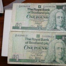 Monedas antiguas de América: 2 BILLETES DE UNA LIBRA THE ROYAL BANK OF SCOTLAND PIC. DE 1996 Y 1999. Lote 225403142