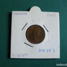 Monedas antiguas de América: MONEDA DE CANADA 1 CENTAVO 1969. Lote 225765150