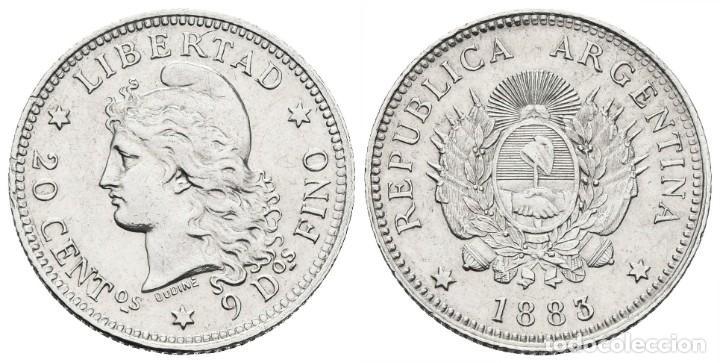 *** MUY BONITOS Y ESCASOS 20 CENTAVOS DE ARGENTINA 1883/2 SOBRE 2 INVERTIDO. KM#27. PLATA *** (Numismática - Extranjeras - América)