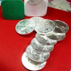 Monedas antiguas de América: ONZA DE PLATA PURA 999,9 AMERICAN EAGLE LOTE DE 15 UNIDADES NUEVAS ESTADOS UNIDOS 2020. Lote 226377106