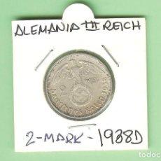 Monedas antiguas de América: PLATA-ALEMANIA 3º REICHS 2 MARK 1938-D. 8 GRAMOS DE LEY 0,625. KM#93. Lote 227724950