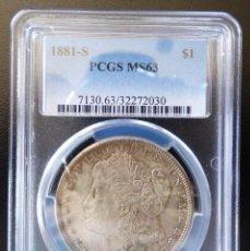 Monedas antiguas de América: USA UN DOLAR MORGAN 1881-S SAN FRANCISCO CERTIFICADA PCGS MS63 UNC. Lote 227960190
