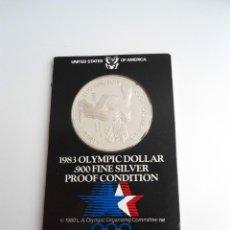 Monedas antiguas de América: ONE DOLLAR PLATA KM# 209 - USA OFFICIAL U.S. OLYMPIC COIN HOLDER - ESTADOS UNIDOS 1983 -SIN CIRCULAR. Lote 229204925