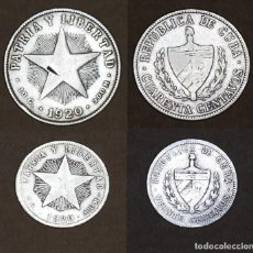 Monedas antiguas de América: 2 MONEDAS DE PLATA CUBA. 40 CENTAVOS 1920 Y 20 CENTAVOS 1920. Lote 229161485