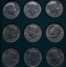 Monedas antiguas de América: LOTE 9 MONEDAS DE 1/2 DOLAR DEL PRESIDENTE KENNEDY, DEL AÑO 1989, CECA P. Lote 230567900