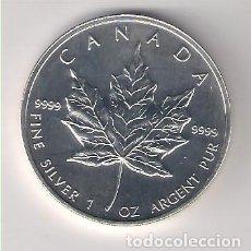 Monnaies anciennes d'Amérique: MONEDA 5 DÓLARES (ONZA) DE CANADÁ 2001. SERIE HOJA. PLATA. SIN CIRCULAR (ME300). Lote 219066011