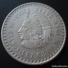 Monedas antiguas de América: MEXICO MEJICO 5 PESOS 1948 PLATA 30 GR, LA DOBLA CUAUHTEMOC SC-. Lote 232460705