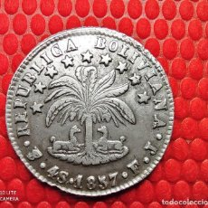 Monedas antiguas de América: BOLIVIA 4 SOLES 1857 FJ. POTOSI EBC REPUBLICA BOLIVIANA . PLATA EBC RAYAS DEL COSPEL O DE ACUÑACION'. Lote 232648315