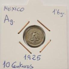 Monedas antiguas de América: MEXICO, 10 CENTAVOS, DEL 1925, DE PLATA. ORIGINAL.. Lote 234580145