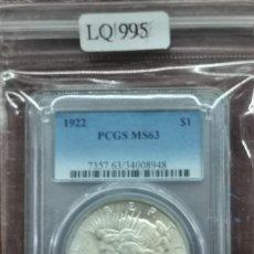 Monedas antiguas de América: MONEDA USA, DOLAR DE LA PAZ AÑO 1922 CON CERTIFICACIÓN PCGS MS63. Lote 234742710