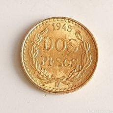 Monnaies anciennes d'Amérique: MONEDA DE ORO 22 K ESTADO UNIDOS MEXICANOS DE DOS PESOS AÑOS 1945 .MIDE 13 MM DIAMETRO Y PESA 1.69 G. Lote 235088615