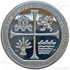 Monedas antiguas de América: USA: 25 CENTS PLATA 2019 S PROOF SAN ANTONIO MISSIONS - TEXAS QUARTER DOLLAR. Lote 235300045