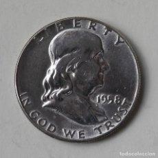 """Monedas antiguas de América: HALF DOLLAR 1958 . MEDIO DÓLAR DE PLATA """"FRANKLIN"""". Lote 236668885"""