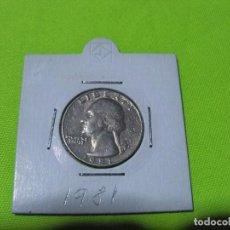 Monedas antiguas de América: QUARTER DOLAR ESTADOS UNIDOS 1981. Lote 236845565