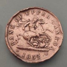 Monedas antiguas de América: MONEDA ONE PENNY 1852 CANADA BANK OF UPPER. Lote 237741105