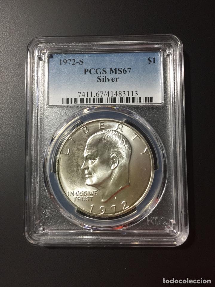 Monedas antiguas de América: Moneda 1 dólar plata - Estados Unidos EEUU - Eisenhower PCGS - dollar silver duro 5 pesetas 8 reales - Foto 2 - 280190258