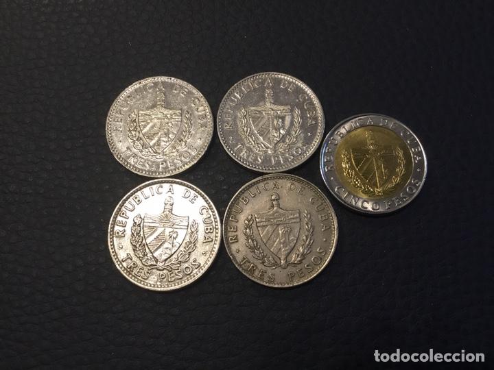 Monedas antiguas de América: Cuba 5 monedas . 4 de 3 pesos Che guevara y 1 5 pesos 2016 - Foto 2 - 238825800