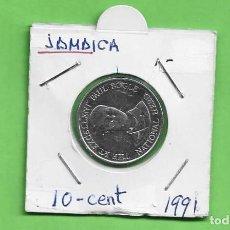 Monedas antiguas de América: JAMAICA. 10 CENT 1991. ACERO BAÑADO EN NÍQUEL. KM#146.1. Lote 240191160